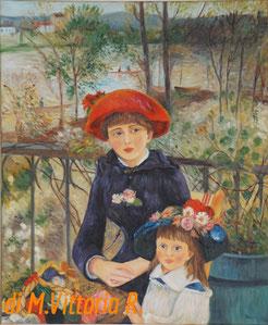 Sulla terrazza, copia d'autore A. Renoir, olio su tela cm 50x60 anno 2016