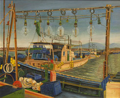 イカつり船 ( 水彩 )