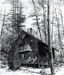 友人の山荘 (銅版画・F10)