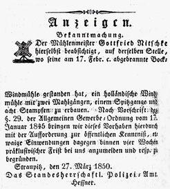 Lübbener Kreis- und Intelligenzblatt 1850.