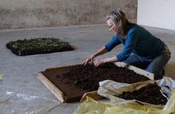 Angelika Windegger beim Auftragen einer noch nassen neuen Schicht isländischer Erde im Hintergrund der schon fertige zweit Teil der Arbeit der geschichtete Seegrasblock aus schwarzen braunen hellgrünen dunkelgrünen und leicht gelben Seegras