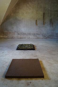 Gesamtansicht der Arbeit im Vordergrund der Block aus isländischer Erde dahinter der Block aus Seegras und im hintergrund an der Wand die drei großen Seegrasblätter