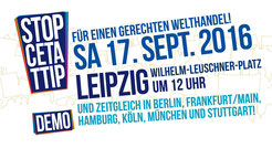 Deutschlandweit demonstrierten bei sieben Kundgebungen rund 320.000 Menschen gegen CETA und TTIP, in Leipzig waren es etwa 15.000.