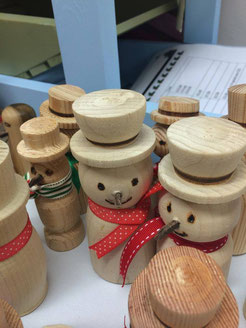 wooden snowmen made at the Broadstairs Town Shed