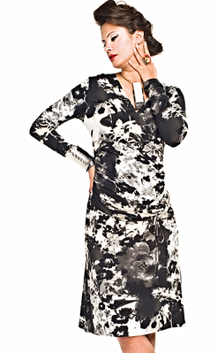 black, white and beigematernity dress long sleeve made in europe