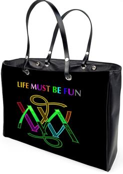 Ledertasche - Tragetasche - schwarz mit bunten MW Logo,majestic-world.com, exklusive-golfsportmode, exklusiver-designerdruck, kunstdesign von-m-a-martin, exklusive-freizeitmode, exklusive-taschen,exklusive-accessoires, damen-und-herren-freizeitmode, reic