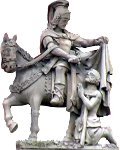 St. Martin zerschneidet mit dem Schwert seinen Mantel, Figur, Foto: Theophil Schweicher