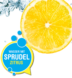Wasser Label mit Zitrus Geschmack und Kohlensäure