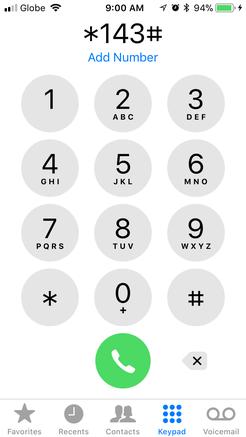 通常の電話機能から*143#をダイヤル