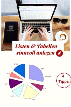 Listen und Tabellen sinnvoll anlegen - 4 Tipps #Büro