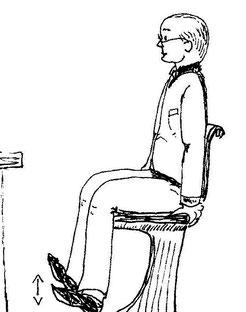 Zeichnung eines Mannes, der auf dem Stuhl die Tapping Übung macht