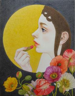 予約済み 「ある夜のこと」 雲肌麻紙・岩絵具・水干絵具・墨・顔彩F6