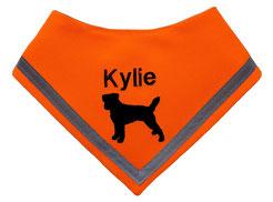 Halstuch neonorange, reflektor, Hundehalstuch, Fox Terrier