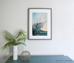 Wohnraumideen für mein Gemälde Welle abstrakt, ein kleine Acrylbild online kaufen.