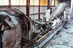 La navette de l'aérotrain incendiée dans son hangar