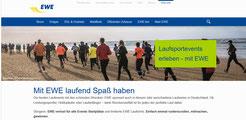 Internetseite der EWE zu den unterstützten Laufevents (www.ewe.de)