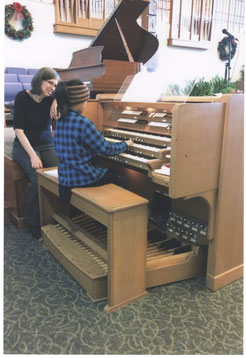 Sometimes organ lessons are held at local churches.  This allows the student to learn to play on different kinds of organs.