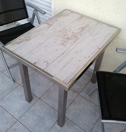 Gartentisch Edelstahl mit Fliesen in Holzoptik