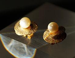 Zweiteilige Ohrstecker mit echten Perlen aus Silber vergoldet veränderbar