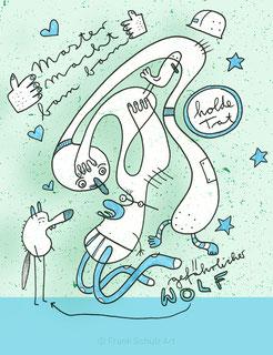 Illustration mit Wolf und Geschrei von Frank Schulz Berlin.