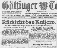 Göttinger Tageblatt, 10. November 1918