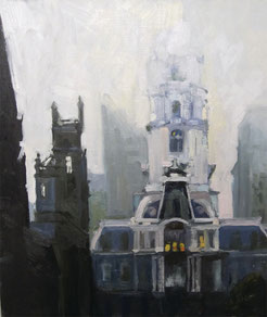 Kate Kern Mundie, City Hall in Fog, oil on pane