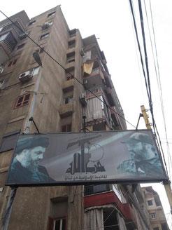 A Hezbollah banner in Beirut