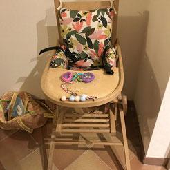 Coussin chaise haute Brenda en coton enduit