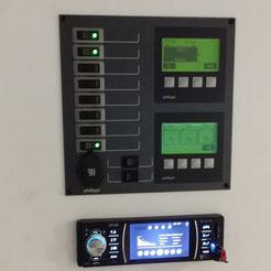 Batteriemonitor, Tankmonitor, Thermoschalter und Radio