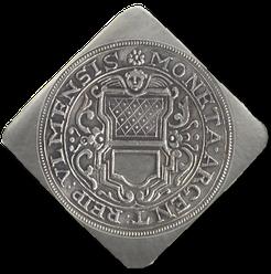MONETA ARGENT REIP ULMENSIS = Silbergeld der Reichsstadt Ulm. In der Mitte das Ulmer Stadtwappen. (Bild: Nachprägung)