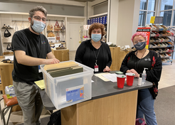 Jewish Family Service staff members, Jonathan Magrisso, Debbie Zimmerman, and Emma Rankin [L–R], volunteered their time to help coordinate private shopping events that helped community families get new clothing and shoes.
