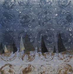 Sail Ⅵ 油彩木版モノタイプ 19x19