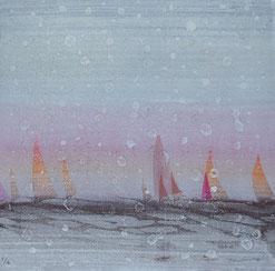 Sail Ⅰ 油彩木版モノタイプ 19×19