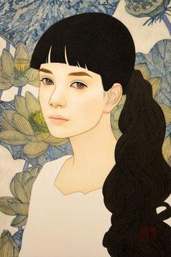 「地平線」  雲肌麻紙に岩絵具、水干絵具、墨、顔彩 P6