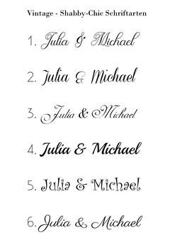 Shabby Chic Hochzeit Schriftarten Schriftzug Muster
