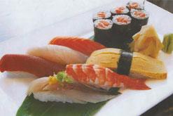 Sushi Menü Nigiri mit Thunfisch, Lachs und Garnelen