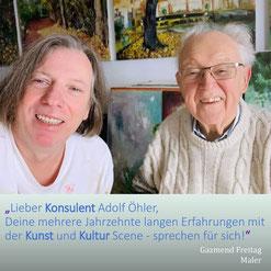 Gazmend Freitag mit Konsulent Adolf Öhler im Atelier, 2021.