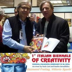 Gazmend Freitag, Vittorio Sgarbi (Kunstkritiker), Verona, 2014. Teilnahme an der 1st Biennale of Creativity, Verona, Italien.