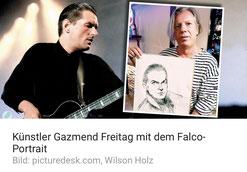 Künstler Gazmend Freitag mit dem Falco-Portrait (Bild: picturedesk.com, Wilson Holz)