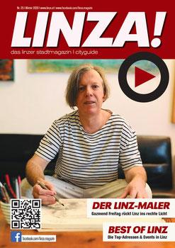 Gazmend Freitag auf dem Cover des LINZA stadtmagazin
