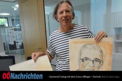 Gazmend Freitag mit dem Franz Hillinger – Portrait  Bild: Dr. Karin Haas