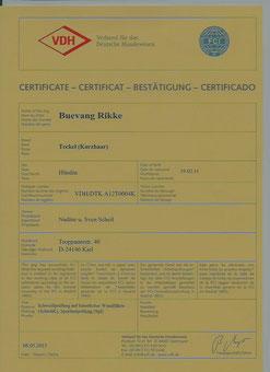 Certificat für die Gebrauchshundeklasse