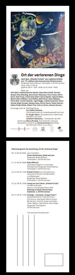"""Finissage der Gruppe Poesie mit Texten zum """"Orlando Furioso"""" und den Exponaten der Ausstellung """"Ort der verlorenen Dinge"""" am 27.06.2018 im Bürgersaal, Rathaus Hannover"""
