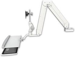ASELP5220-PT2-KUP : ロングモニターアーム ポールマウント 支柱固定 昇降式 ディスプレイキーボード用アーム