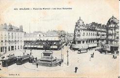 Tramways élecriques place du Martroi à Orléans 1899-1938