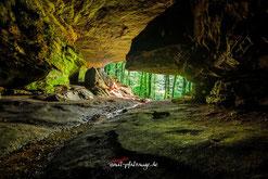 Größte natürliche Felsenhöhle der Pfalz.