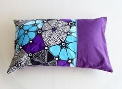 coussin déco wax violet turquoise
