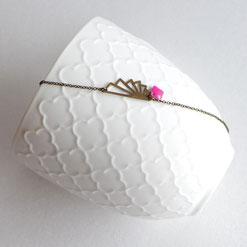 Bracelet fin Art Déco fille femme ado origami rose