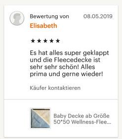 Fünf Sterne Bewertung für die Baby Decke mit Namen: Es hat alles super geklappt und die Fleecedecke ist sehr sehr schön! Alles prima und gerne wieder!