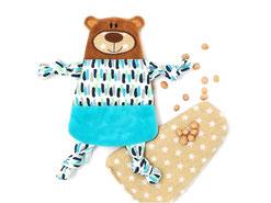 Kleiner Teddy Bär als Bezug für Bio- Kirschkern- Kissen, personalisierbar mit Namen